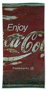 Coca Cola Green Red Grunge Sign Bath Towel