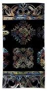 Coffee Flowers Ornate Medallions 6 Piece Collage Aurora Borealis Hand Towel