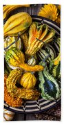 Colorful Gourds In Basket Bath Towel