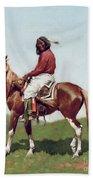 Comanche Brave Bath Towel by Frederic Remington