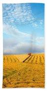 Combine Harvesting A Wheat Field Bath Towel