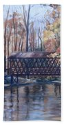 Covered Bridge At Lake Roaming Rock Bath Towel