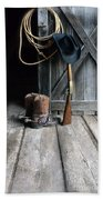 Cowboy Hat Boots Lasso And Rifle Hand Towel