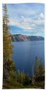 Crater Lake Through The Trees Bath Towel