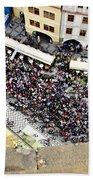 Crowd Forms At Clock Tower - Prague Bath Towel