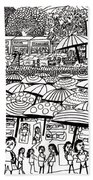 Crowded Beach Black And White Bath Towel
