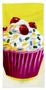 Cupcake With Cherries Hand Towel