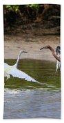 Dancing Egrets Bath Towel