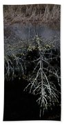 Dead Tree Reflects In Black Water Bath Towel