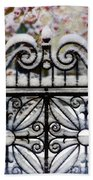 Decorative Iron Gate In Winter Bath Towel