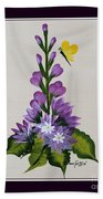 Delphenium And Butterfly Bath Towel