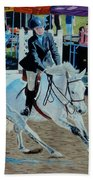 Determination - Horse And Rider - Horseshow Painting Bath Towel