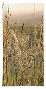 Dew And Spider Webs Bath Towel