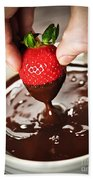 Dipping Strawberry In Chocolate Bath Towel