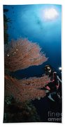 Diver By Sea Fans, Indonesia Bath Towel