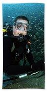 Diver Collects Invasive Lionfish Bath Towel