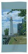 Downtown Detroit Lighthouse Bath Towel