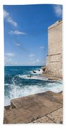 Dubrovnik Fortification And Pier Bath Towel