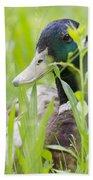 Duck In The Green Grass Bath Towel