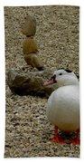 Duck With Rock Sculpture Bath Towel