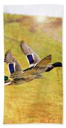 Ducks In Flight V4 Bath Towel