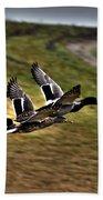 Ducks In Flight V5  Bath Towel