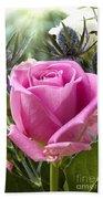English Pink Rose Close Up Bath Towel