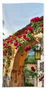 Entrance Arch With Flowers Bath Towel