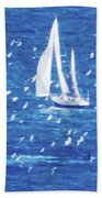 Escorted By Seagulls Hand Towel
