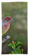 Evening Finch Greeting Card With Verse Bath Towel