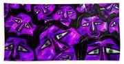 Faces - Purple Bath Towel