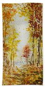 Fall Tree In Autumn Forest  Bath Towel