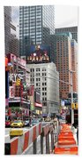 Amidst Color And Construction In Times Square Hand Towel