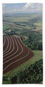 Farming Region With Forest Remnants Bath Towel