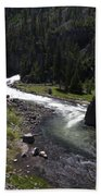 Fast Rapids On Firehole River Yellowstone  Bath Towel