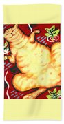 Fat Cat On A Cushion - Orange Cat Bath Towel