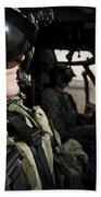 Female Pilot Commander In The Cockpit Bath Towel