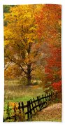 Fence In Autumn Bath Towel