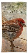 Finch Greeting Card With Verse Bath Towel