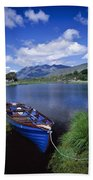 Fishing Boat On Upper Lake, Killarney Bath Towel
