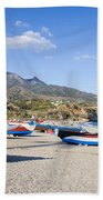 Fishing Boats On A Beach In Spain Hand Towel