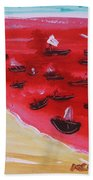 Fishing Boats On A Red Sea Bath Towel