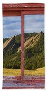 Flatirons Boulder Colorado Red Barn Picture Window Frame Photos  Hand Towel
