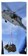 Flight Deck Personnel Wait For Supplies Bath Towel