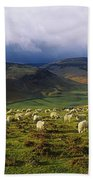 Flock Of Sheep Grazing In A Field Bath Towel