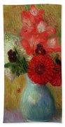 Floral Arrangement In Green Vase Hand Towel