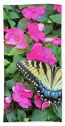 Butterfly And Flowers  Bath Towel