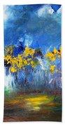 Flowers Of Maze In Blue Bath Towel