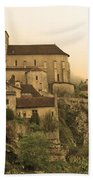 Fog Descending On St Cirq Lapopie In Sepia Bath Towel