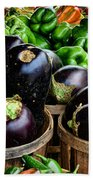 Food - Farm Fresh - Eggplant And Peppers Bath Towel